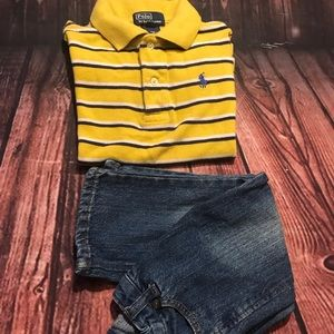 Polo boys shirt  size 2T Cherokee jeans size 2T